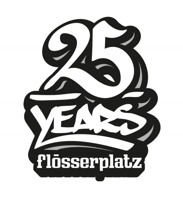 "jubiläums-signet ""25 years flösserplatz"""