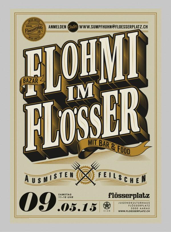 plakat für den flohmarktbazar im flösserplatz