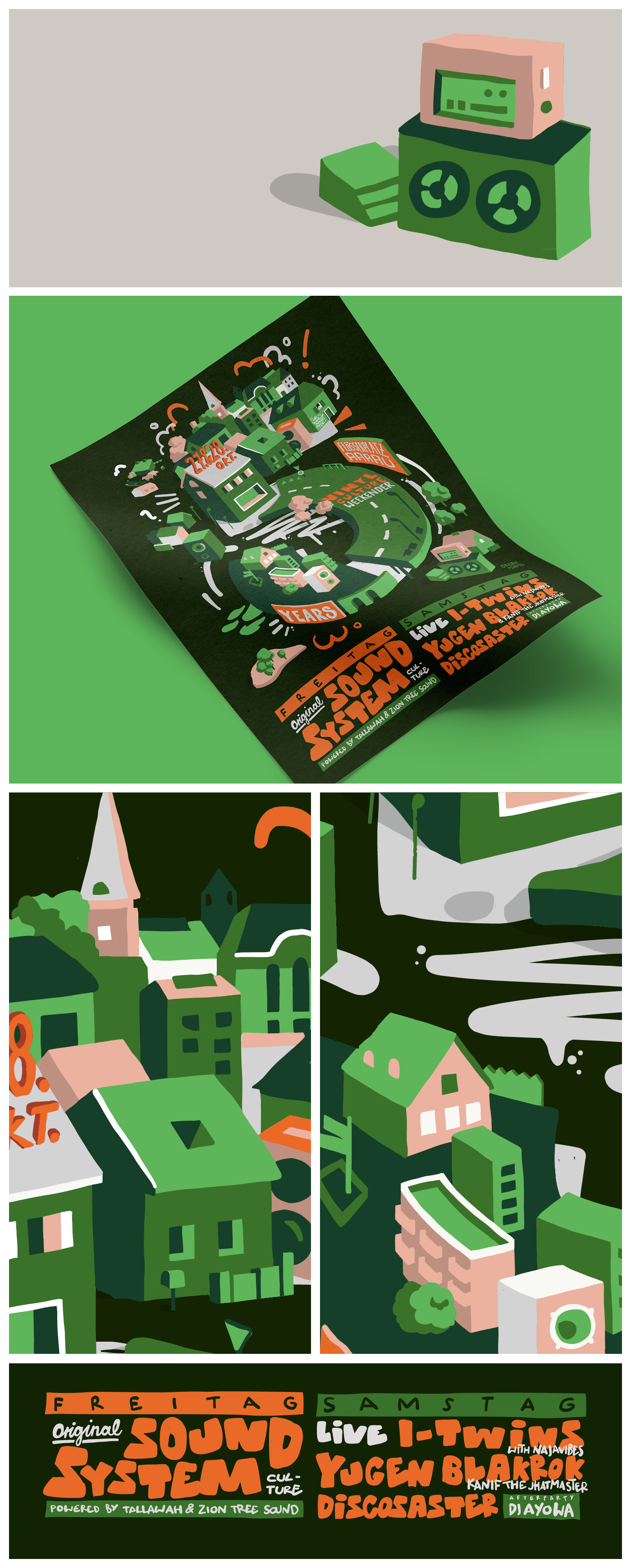 Vector, Illustration, Party, Soundsystem