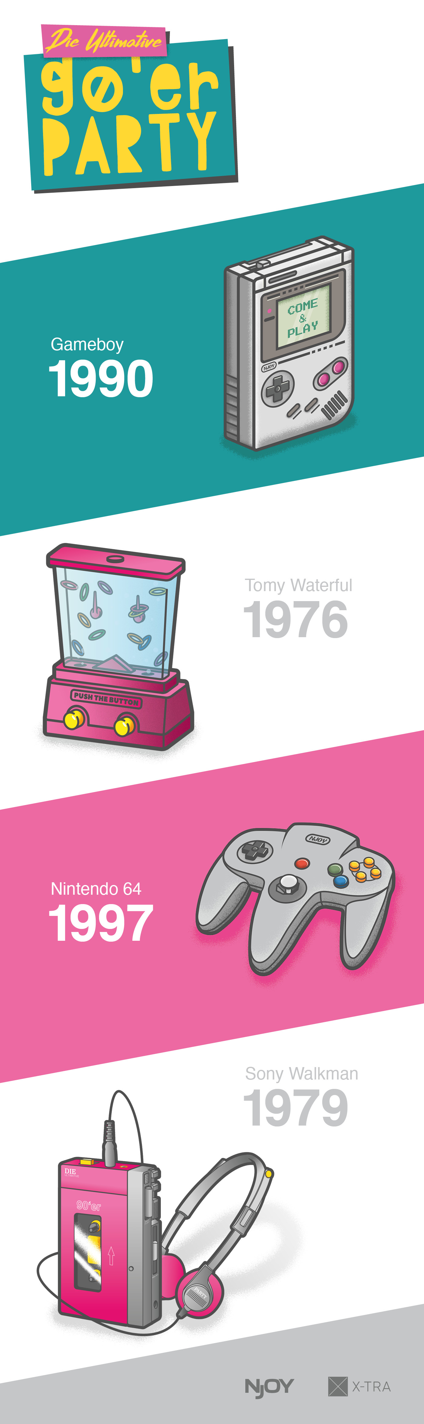illustration of gameboy, tomy waterful, n64, walkman
