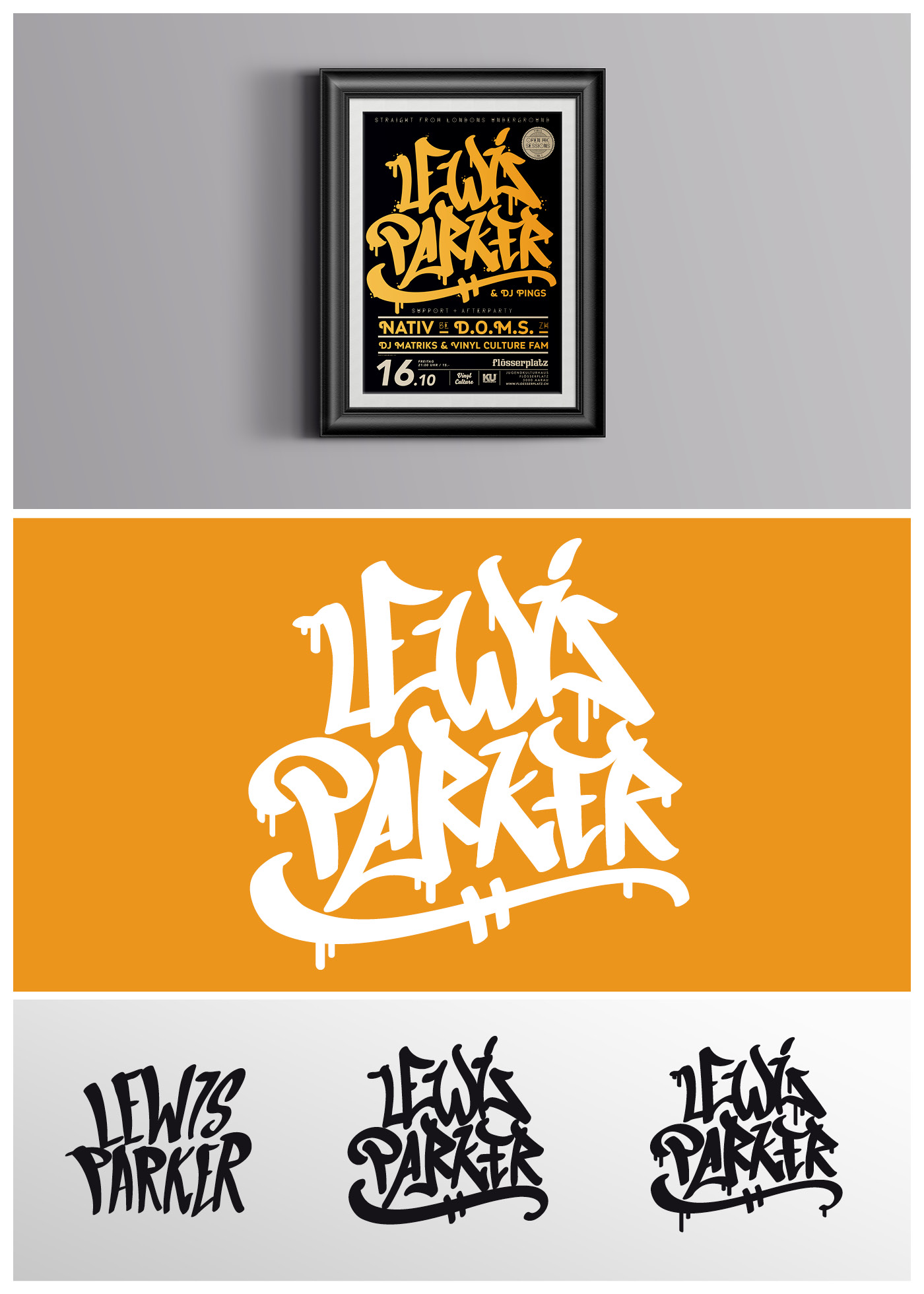 Poster for Lewis Parker, Handlettering, Graffiti, Tag